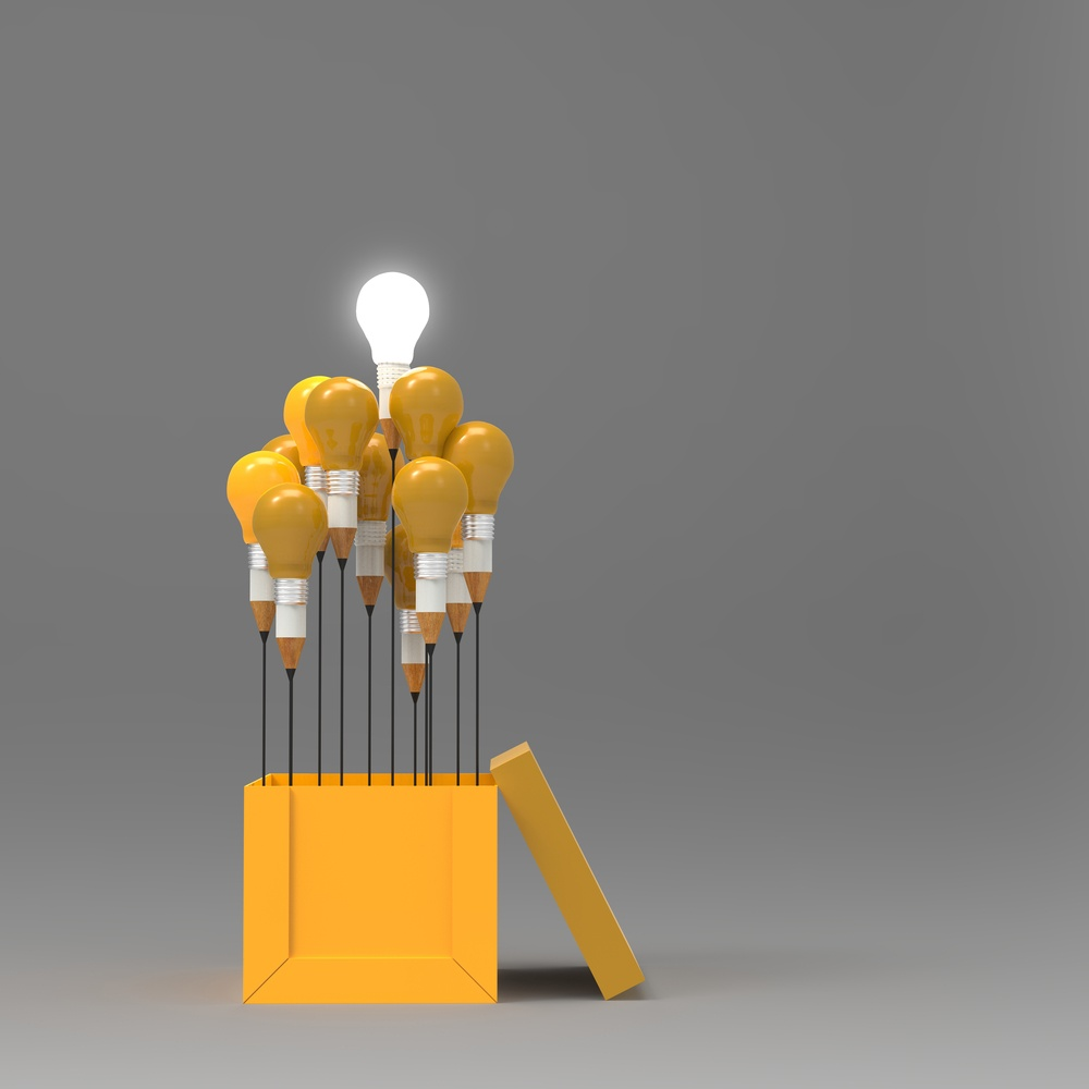 drawing idea pencil and light bulb concept outside the box as creative and leadership concept